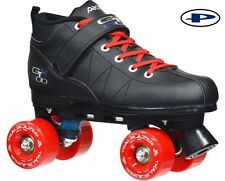 Black GTX-500 Quad Roller Speed Skates w/ Red Outdoor Wheels 2 Pr Laces Red/Blk