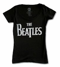 """THE BEATLES """"DISTRESSED LOGO"""" BLACK BABYDOLL T-SHIRT NEW OFFICIAL BAND JUNIORS"""