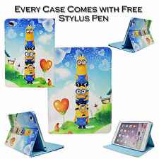 Despicable Me Love Minions Leather Stand Wallet Case For Apple iPad Mini 1 2 3