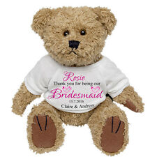 Personalised Teddy Bear Wedding Favour Thank you Bridesmaid Flower Girl Gift