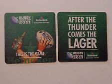 Beer Coaster ~*~ HEINEKEN Brewing ~ 2011 Rugby World Cup ~ After Thunder, Lager