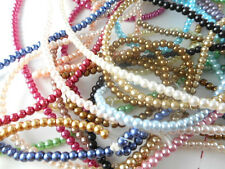 2 Strands Glass 3mm Round Pearl Beads (140 beads) You Pick Color