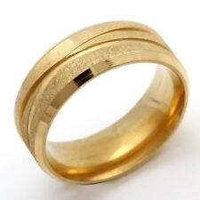 Cool Stainless Steel Ring No Stone Gold Mens Womens Band Ring Size 7 8 9 10 11