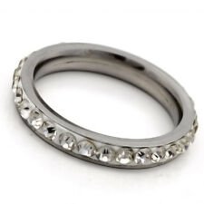 Stainless Steel Ring Cubic zirconia Mens Womens Band Ring Size 6 7 8 9 10