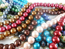 1 Strand Glass 12mm Round Pearl Beads (34 beads) You Pick Color