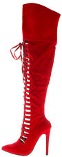 Red Suede Thigh High Lace up Pointy toe Boots Stiletto Heels Women's Shoes Vera