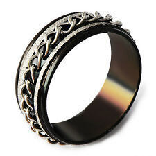 Black Stainless Steel Band Chain Spinner Mens Ring Size 7-11 Free Shipping
