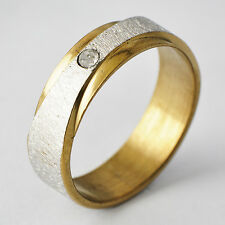 Simple Womens Yellow/White Gold Filled Band Promise Love Band Ring Size 6-9