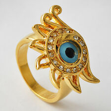 "Yellow Gold Filled Womens CZ Blue"" Evil-Eye"" Promise Love Band Ring Size 7-9"
