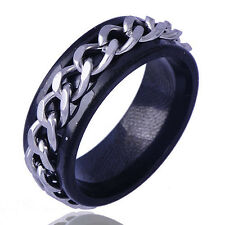 Fashion  Tungsten Mens Black Wedding Band White Chain Spinner Ring Size 9 10 11