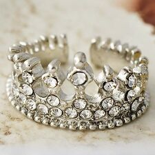 Nice White Gold Filled Clear CZ Imperial crown Promise Love Band Ring Size 5-10