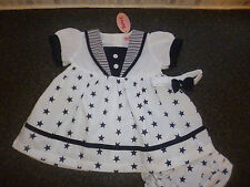 FREE P&P NAVY SAILOR *STARS * DRESS, PANTS, HAIRBAND  6/12, 12/18,18/24 MONTHS