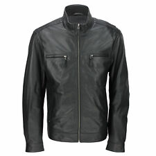 Mens Black Real Ultra Soft Sheep Leather Retro Biker Style Zipped Bomber Jacket