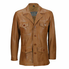 Mens Tan Brown Real Leather 3/4 Mid Length Classic Vintage Military Style Jacket