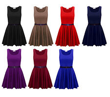 Womens Belted Sleeveless Flared Franki Short Party Ladies Skater Dress Top 8-14