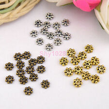 120Pcs Tibetan Silver,Antiqued Gold,Bronze 4mm Tiny Daisy Spacer Beads M1146