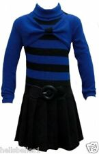 GIRL'S STRIPED PLEATED BLUE/BLACK SKIRT DRESS 3-4 YEARS