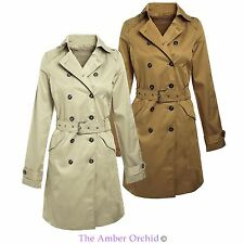 NEW WOMENS LADIES BELTED TRENCH MAC DOUBLE BREASTED JACKET COAT SIZES 8-14