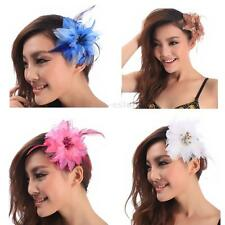 Headdress Flower Feather Belly Dance Hair Pin Brooch Clip For Party Wedding US