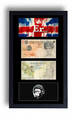 FRAMED MOUNTED DI FACED TENNERS £10 TEN POUND & UNION JACK MONKEY QUEEN PRINT