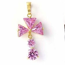 Fashion jewelry Yellow Gold Plated Clear OR Pink CZ Flower Womens Dangle Pendant