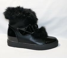 LADIES VELCRO BLACK ANKLE BOOTS WITH FUR WINTER WARM SIZE 3-8