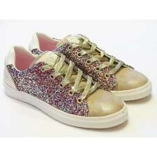 Girls Gold Leather & Multi Glitter Lace Up Pumps From Replay