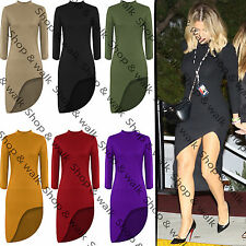 New Ladies Womens High Neck Long Sleeve Curved High Low Hem Bodycon Midi Dress