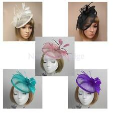 Wedding Party Alice Band Headpiece Hair Fascinator Flower Yarn Feather Headband