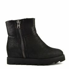 Ash Shoes Yang Black Glitter Effect Wedge Ankle Winter Shearling Lined Boot