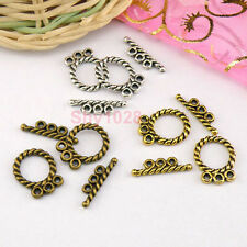 8Sets Tibetan Silver,Antiqued Gold,Bronze 3-Holes Connector Toggle Clasps M1411