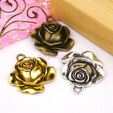 3Pcs Tibetan Silver,Gold,Bronze Rose Flower Charms Pendants 31x35mm M1211
