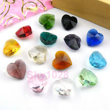 12Pcs Faceted Glass Crystal Heart Spacer Beads 14mm 16Color-1 Or Mixed R5098