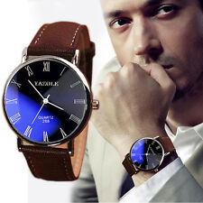 2016 Black+Blue Dial Waterproof Leather Mens Watch Quartz Analog Wrist Watches