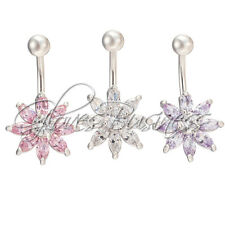 14G Flashing Flower Navel Belly Button Ring Belly Dancer Body Jewelry