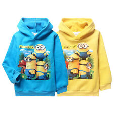 Cool Despicable Me Minions Kids Boys Girls Fleeced Hoodies Unisex Coat 4-11Years