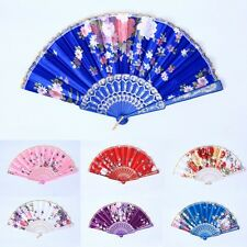 Vintage Favor Pocket Fan Folding Hand Held Fan Floral Fabric Wedding Dance