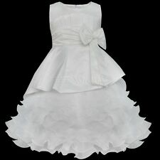 New Kids Tiered Organza Pageant Birthday Easter Wedding Party Flower Girl Dress