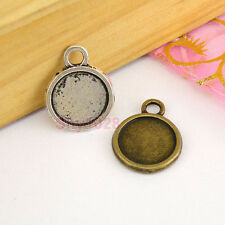 10Pcs Tibetan Silver,Antiqued Bronze Round Picture Frame Charms Pendants M1594