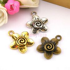 6Pcs Tibetan Silver,Gold,Bronze Flower Charms Pendants 19x23mm M1226