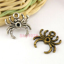 12Pcs Tibetan Silver,Antiqued Bronze Animal Spider Charms Pendants M1464