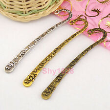 3Pcs Tibetan Silver,Gold,Bronze Flower Charm Hairpin Bookmark 16x80mm M1406