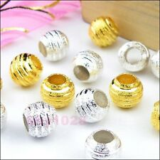 8Pcs Copper Spacer Beads Fit Charm Bracelet 10mm Silver Plated Or Golden R5113