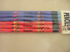Personalised Boys Pencils with Rubbers Pack of 6 Blue/Red Stars and Swirls