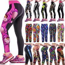 Womens 3D Yoga Gym Pants Running Sports Cropped Leggings Dancing Jogging Trouser