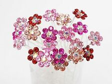 Wholesale Lot of 20 Bridal Wedding Color Crystal Flower Hair Pins Accessories