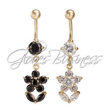14G Rhinestone Black White Flower Navel Belly Button Ring Belly Body Jewelry