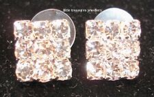 Sparkling Large Iced Out Square Diamante Stud Earrings  10mm