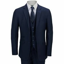 Men's Blue Smart Formal Tailored Fitted 3 Piece Suit – Blazer Waistcoat Trouser