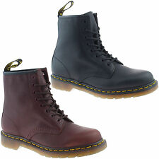 MENS DR MARTENS CLASSIC BLACK OXBLOOD LEATHER 1460 8 EYELET LACE UP BOOTS